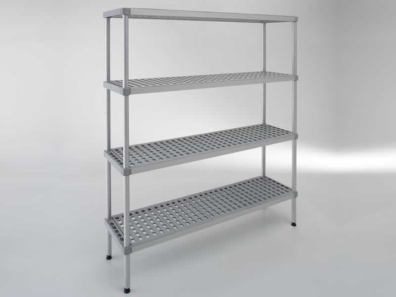 Shelving in aluminum and plastic that resists low temperatures (until -40).It adapts to being installed in the cold rooms of hotels and restaurants.This model has a height of 1600 mm